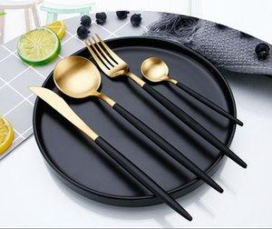 Besteck Sets Factory 4 stücke Black Gold Luxus Titan Geschirr Set 18/10 Edelstahl Kitchen Abendessen Umweltfreundliche Produkte