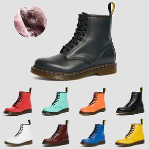 Dr.Martens Sıcak Tutun Dr Martens 2976 deri kürk bayan botları 1460 kış kar patik doc ayakkabı martin sneakers siyah beyaz kırmızı erkek kadın çizme