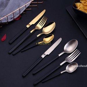 frete grátis 304 faca de aço inoxidável e forquilha Colher Gold mudo Luz Hotel West Louça Steak Knife and Fork