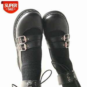 RIBETRINI Cosplay Girl Black Lace Up Buckle Shallow Marry Janes Shoes Women Pumps Chunky Heel Lolita Cute Spring Pumps #zp8Z