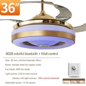 Bluetooth Music LED Ceiling Fan Lamp Phone APP with Lights Remote Control Singing Double Ring Fans for Restaurant Kid s Room