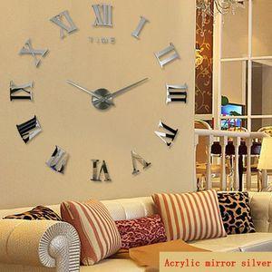 الاكريليك ملصق ساعة الحائط الحديثة اليدويه النظير 3D مرآة أرقام سطح البيت الديكور الأزياء على مدار الساعة لغرفة الجلوس