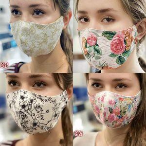 Fashion Face Mask faltbare Ventilation wiederverwendbare Druck Blumen Staub Personality Lady Grace Floral Mouth Neue Masken Weihnachten 3my K2