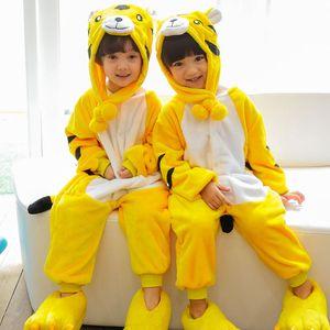 Kids christmas pajamas winter warm flannel dinosaur pajamas cartoon animal boy girl with hat new childrens one-piece pajamas