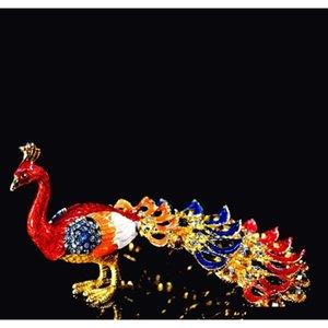 Qifu Art Craft Lifelike Beautiful Peacock per Home Decor ZM3pi