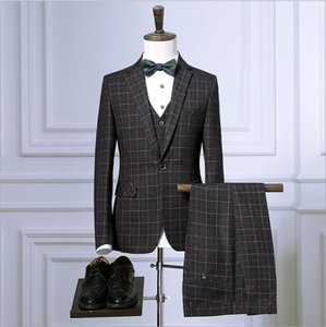 Business Professional Dress Three-piece Blazer Vest Trousers Suit Korean Retro Plaid Groom Wedding Formal Suit 1004