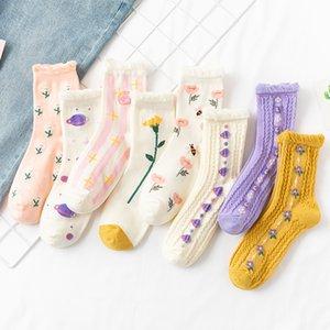 Ретро среднего носка цветка кружева Frilly Socks Autum зимние теплые женщины девушки мода милый цветочный спорт 2 6yc n2