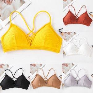 Çerçeve olmayan sütyen kadın dikişsiz içi boş basitlik geri fitness tank tops egzersiz yoga giysileri 118 olmadan şapka sutyen var