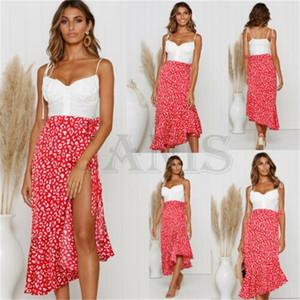 새로운 숙녀 Boho Floral Jersey 쉬폰 A 라인 원피스 랩 Gypsy Ankle Long Maxi Split Full Summer Beach 여성용 Sun Skirt Y200326