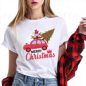Happy New Year Christmas Santa Claus Girls Fashion T shirt Women Short Sleeve Harajuku Ullzang Cartoon Car Print Tee Shirt