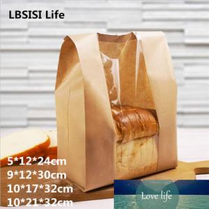 Lbsisi Life 50pcs 크래프트 종이 빵 명확한 오일 포장 토스트 창 빵 베이킹 테이크 아웃 음식 패키지 케이크 가방 파티