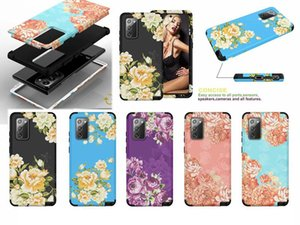 Flower Shockproof Cases For Samsung Note 20 Ultra 10 Pro S10 S9 9 Fashion Armor Hybrid Beetle Defender Hard PC+TPU 3 in 1 Layer Phone Covers
