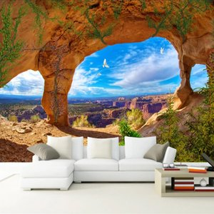 Custom Mural Wallpaper Blue Sky And White Clouds Cave Landscape 3D Photography Backdrop Photo For Living Room Bedroom