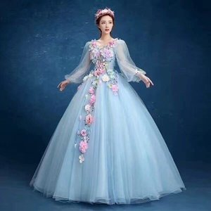 Dress Full Sleeve V-neck Party Prom Solo Ball Gown Sweet Floral Print Host Quinceanera Dresses Plus Size