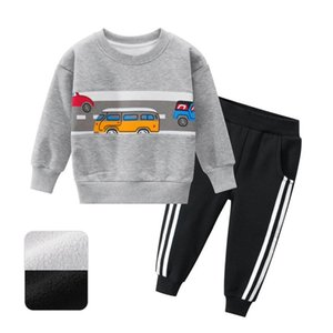 high quality Set of children's clothing, boy girl autumn and winter car pattern sports costume for leisure Children's clothing des