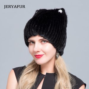 Middle aged women in the winter: mink fur women's knitted sweater hat new fashion European and American cat style ski caps 201026