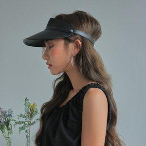 Sunshade Bicycle Sun Femmes Pu Pu Cap Mode Modèle Harajuku Visière Hat Summer Toit vide LJ200910