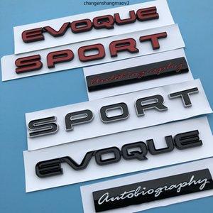 2018 New Glossy Black Red Sport Evoque Letras Evoque Autobiografía Bar Emblema Insignia Estilismo Etiqueta engomada del tronco para la gama de terrenos Rover