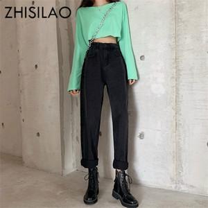 Straight Women High Waist Boyfriend Street Vintage Denim Pants Maxi Mom Plus Size Retro 2019 Jeans Black Blue A1105