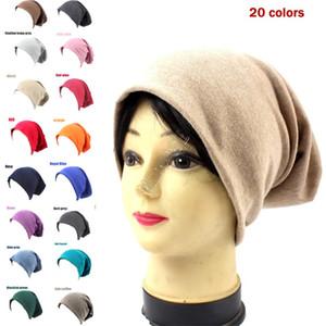 Women Men Knitted Cotton Hat Winter Warm Beanie Caps Adults Pullovers Skull Cap Street Hip Hop Hats Casual Headgear Ear Muff 2020 D92407
