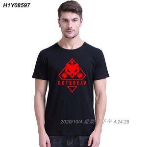Hombre Camisetas Rainbow Six asedio brote Qualtiy divertido 100% 180g aficionados peinados de diseño del juego Carta de cuello redondo de Hip Hop 222510