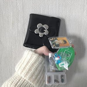 Designer-Kawaii cute metal flower snap PU leather wallet sweet mini purse Drop Shipping High quality