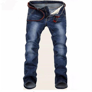 Entrega gratuita 2020 Nueva grande elástico azul Hombres Vaqueros del ajustado de los pantalones rectos del dril de algodón del precio barato de los hombres de Jean flaco Homme