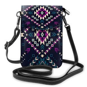 OLN Tribal Etnik Hipster Geometrik Cep Telefonu Çanta Smartphone Cüzdan Deri Omuz Kayışı Çanta Kadınlar Çanta
