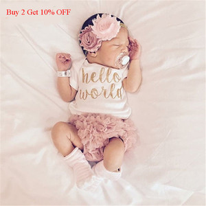 EAZII Hello World Print Newborn Infant Baby Girl Romper Jumpsuit With Underwear Short Sleeve Sunsuit Summer Clothes Outfit 0-24M 201118