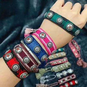 ZLXGIRL Высококачественная мода Смешанно-цветная хлопчатобумажная пряжа заплетенного заклепки выдвижной браслет подходит для мужчин и женщин1
