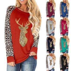 TAMAÑO PLUS TAMAÑO SWEET DESEA DE NAVIDAD Ciervos de Navidad Leopardo de leopardo Redondo Cuello redondo Camiseta de manga larga 2020 Otoño Invierno Ropa M3001