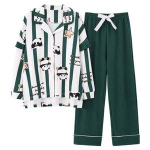 Panda Carino Stampa Womens Pajamas Set del cotone delle signore Homewear Figura intera Sleepwear 201009