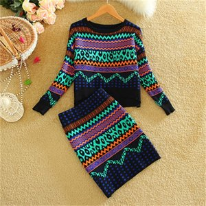 New Autumn Winter Women Print Sweater Sets Wool Tops and Bodycon Pencil Skirt Set Casual Two Piece Set 201012