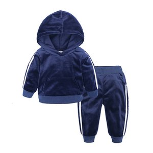 Sudaderas con capucha de terciopelo + Pantalones 2 piezas Set para niños Boys Girls Ropa 2020 Traje para niños pequeños Trajes de niños Ropa de bebé Chándal 1-7Y
