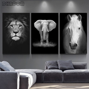 Canvas Painting Animal Wall Art Lion Elephant Deer Zebra Posters and Prints Wall Pictures for Living Room Decoration Home Decor sdf