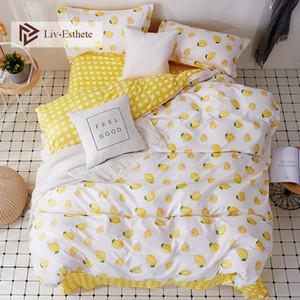 LIV esthete أزياء الصيف الليمون الفراش مجموعة مزدوجة الملكة الملك السرير الكتان مريحة حاف غطاء ورقة مسطحة المخدة للبالغين C1026