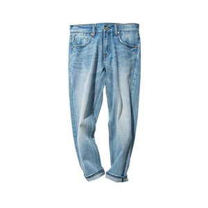 Mbbcar West cat's hair monkey washed white blue Red Line Denim small feet cropped jeans 793