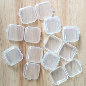 Fai da te quadrato vuoto Mini plastica trasparente Contenitori della cassa della scatola con coperchio piccola scatola di gioielli Tappi per le orecchie Storage Box FWB2705