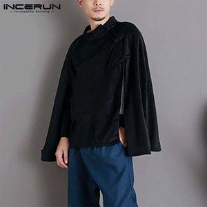 Männer Casual Hemden InfaRun Männer Mantel Massivständer Kragen Capes Vintage Chinesische Stil Buttons Poncho Bluse Lose Unregelmäßige Chemie plus Größe