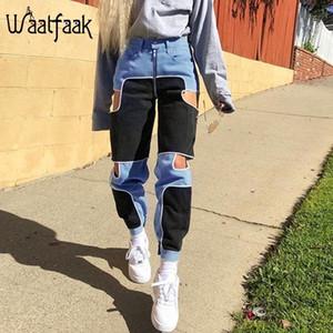 Waatfaak preto azul calças de carga mulheres casual zíper up casual calças fitnes alta cintura retalhos bolso corredores cortar 201111