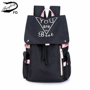 Fengdong genç kızlar okul çantaları moda siyah pembe büyük okul çantası su geçirmez kitap çantası öğrenci kız ışıltılı sırt çantası C1019