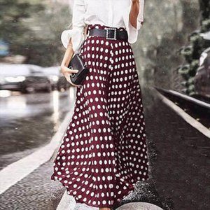 Elegant Polka Dot Printed Skirts Womens Casual Vetidos 2020 ZANZEA Casual Zip Maxi Skirts Female High Waist Robe Plus Size 5XL
