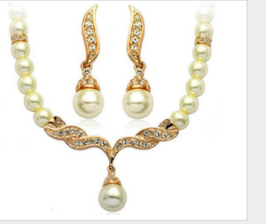 Plated Tear Drop Cream Pearl and Rhinestone Crystal Bridal Necklace and earrings Jewelry Set ps1069