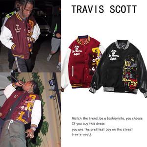 20SS Travis in pelle di lana cuoio cucitura ricamo da baseball uniforme da baseball maschio stand-up colletto trapuntato giacca coppia cotone abbigliamento