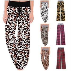 Leopardo pierna ancha pantalones Europa Reino cuadros estilo Loose Women Pantalones dama para dormir Pantalones Pantalones Señora WY383DXP