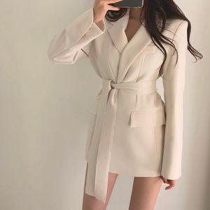 Colorfaith New 2020 Automne Hiver Femmes Vestes Bureau dames lacent formelles Outwear élégantes solides Hauts Rose Noir
