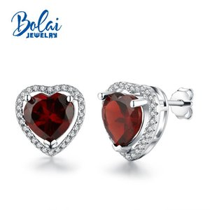 Bolaijewelry,2020 new Heart shaped Sweet Romantic natural red garnet gemstone earring 925 sterling silver fine jewelry women