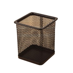 Pencil Holder Office Desk Metal Mesh Square Pen Pot Case Stationery Container Organiser Durable Pencil Case Black Q bbyfHo
