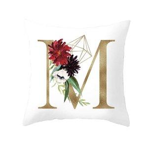 26 Alphabet Lettres Initiales Anglais Housse de coussin Lettre fleur d'or Throw Taie d'oreiller moderne Canapé Décoration