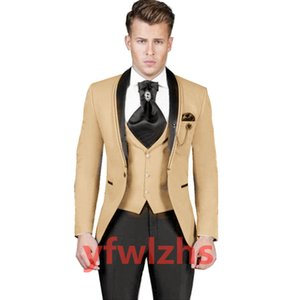 Classic One Button Handsome Groomsmen Shawl Lapel Groom Tuxedos Men Suits Wedding Prom Best Man Blazer ( Jacket+Pants+Vest+Tie) W655